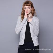 Frauen Strickjacke O-Ausschnitt einreihig stilvolle Kaschmir-Strickjacke Farbe Spot Dekoration Mädchen Pullover Strickjacken