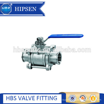 sanitary stainless steel clamp three piece non-retention ball valve