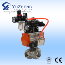 Stainless Steel 3way Ball Valve with Pneumatic Actautor