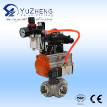 3-ходовой шаровой клапан из нержавеющей стали с пневматическим актуатором