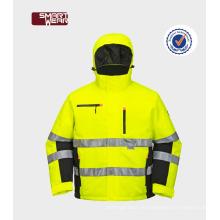 Uniformes de alta calidad del trabajo de la chaqueta impermeable al por mayor de Hi Vis con la cinta reflexiva