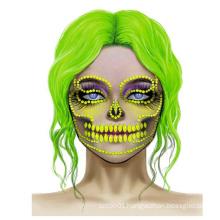 Halloween Scary Skeleton Cosplay Masks Sexy Women Face Eyes Rhinestone Jewel Skull Glitter Tattoo Sticker for Halloween Costume