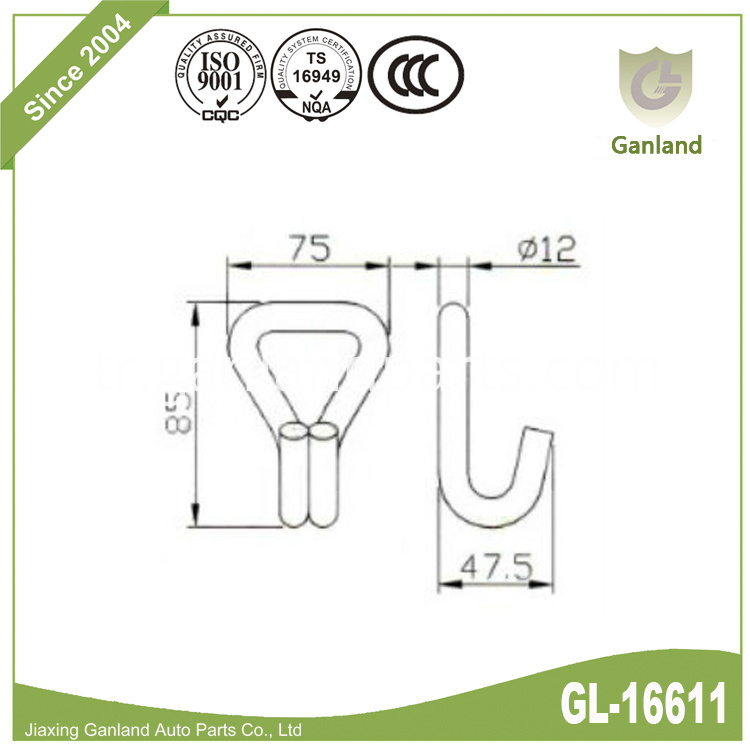 Hook for curtain buckle gl-16611
