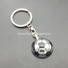 3D Football Metal Keychain with Spinning Football