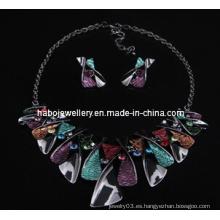 Conjunto de joyas de piedra cuadrada / Conjunto de collar de moda (XJW13218)