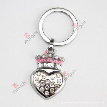 Werbeartikel billig Alloy Royal Crown Herz geformt Metall Schlüsselring
