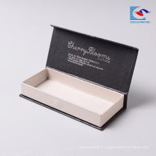 forme de livre de cils noir feuille d'argent estampage boîte magnétique