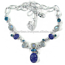 Tanzanite And Multi Gemstone 925 Solid Silver Necklace Jewelry