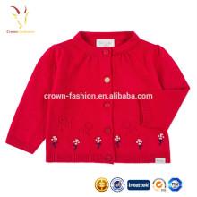 Dernières conceptions mignonnes de chandail de conception pour le bébé cardigan de chandail de laine de bébé de filles