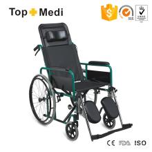 Topmedi Medical Equipment Reclining High Back Powder Coating Steel Wheelchair
