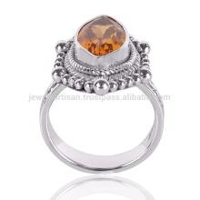 Natürlicher Citrin Edelstein 925 Sterling Silber Ring Schmuck