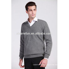 al por mayor de calidad lujosa 12gg plana tejida estilo básico hombres jersey de cachemira