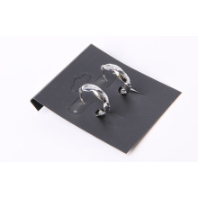 """C"" Shaped Simple Earrings with Rhodium Plated"