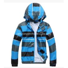Waterproof Kids Light Rain Jacket With Strips