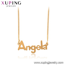 44996 xuping 18k banhado a ouro palavra Angela pingente de colar de corrente