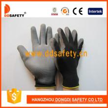 Schwarze Nylonhandschuhe mit grauer PU-Beschichtung auf der Handfläche und Finger Dpu118