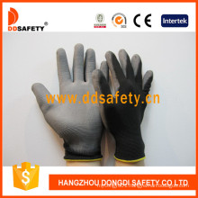 Black Nylon Gloves with Grey PU Coated on Palm and Finger Dpu118