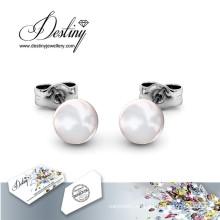 Schicksal Schmuck Kristalle von Swarovski einfachen Perle Ohrringe