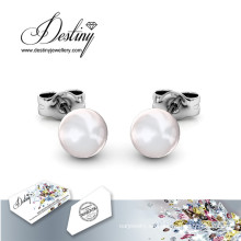 Destino joyas cristales de Swarovski sencillo de perlas pendientes