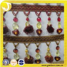 Beautiful Design pompom Beads Cortina de suspensão Tassel fringe trim para casa e decoração de têxteis