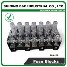 FS-017B 600V 10 Amp 7 Way Midget Tipo Base de fusíveis de vidro Rail Din