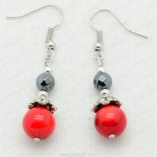 Wholesale Fashion Jewelry Red Coral Faceted Round Hematite Earring
