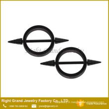 Titane noir en acier chirurgical plaqué cercle forme mamelon anneaux Piercing