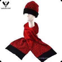 Зимняя акриловая резинка для леди Печать леопардовый шапочка