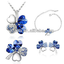 China supplier hottest clover jewelry bridal sapphire jewelry set