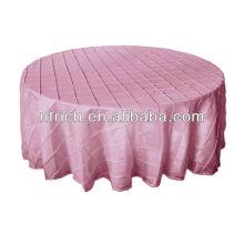 Luxo tafetá casamento toalha de mesa, toalhas de mesa pintuck para casamentos