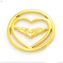 Fashion 22mm alloy 24k gold jewelry magnetic floating charms locket heart window plates wholesale