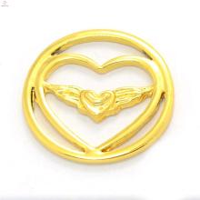 Moda 22mm liga 24k jóias de ouro magnético flutuante encantos medalhão coração janela placas atacado