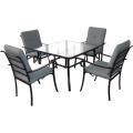 Set de comedor al aire libre del listón muebles 5pc con cojín de asiento
