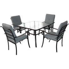Outdoor slat furniture 5pc dining set with cushion