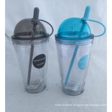 18oz Plastic Tumbler with Straw Double Wall
