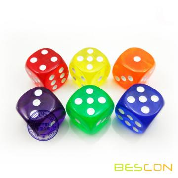 Dés en plastique transparent coloré 19MM, cubes de comptage transparents