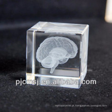 Modelo de cristal do cérebro do laser 3d como a lembrança ou os presentes