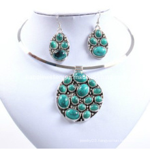 Turquoise Imitation Stone Full of Round Pendant Necklace Set (XJW12597)