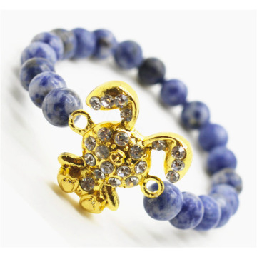 Sodalite Gemstone Bracelet with Diamante alloy rabbit Piece