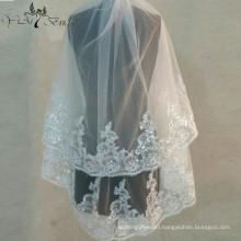 2016 Yiai Shing Beading Wedding Veil Two Layers Appliques Bridal Veils