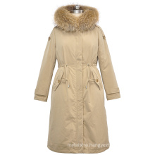 New women acceptable waist real raccoon fur hooded down coat with belt