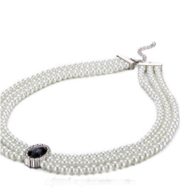 Pendentif Black Diamond Collier White Pearl