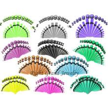 Orelha acrílica UV colorida personalizada que estica o jogo