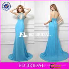 XZA002 Open Back Real Sample Exclusive Design Halter Mermaid Floor Length Sexy Evening Dress