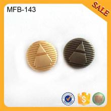 MFB143 El botón de encargo de encargo de la caña de la aleación 2016 para la camisa, ropa de lujo marcó la fuente de los botones de la insignia