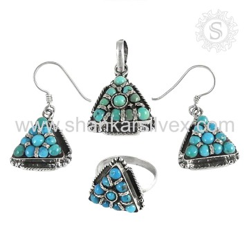 Tempting offer Sterling Silver Turquoise Set Handmade 925 Silver Jewelry Exporter