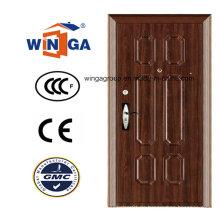 Europ Beliebte Braun Farbe Sicherheit Stahl Metall Tür (WS-123)
