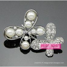 Broche papillon diamant perle et strass