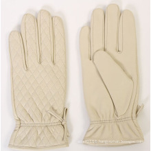 Lady Fashion Checked Pattern Sheepskin Leather Driving Gloves (YKY5171)