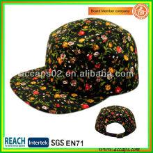 Floral Brim Custom 5 panel sombrero estilo patrón 0009